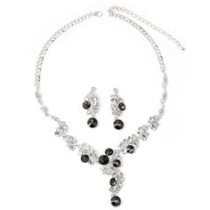 #Wholesalejewelry Silver Crystal Rhinestone with Crystal and Black Diamond Stones Water drop Dangle Earrings & Tie Y Shaped Swirl Drop Necklace Jewelry Set