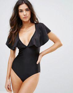 c153de3d33 Playful Promises Frill Sleeve Plunge Neck Swimsuit - Black Bandeau One  Piece Swimsuit