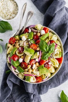 May 23 20 minute vegetarian avocado tomato chickpea pasta salad with mediterranean flavors and a bold lemon basil dressing. Refreshing and perfect for parties or meal prep! Today's recipe is all about ZE PASTA. Vegetarian Pasta Salad, Easy Pasta Salad Recipe, Easy Salad Recipes, Pasta Recipes, Vegetarian Recipes, Cooking Recipes, Healthy Recipes, Grilling Recipes, Chickpea Recipes