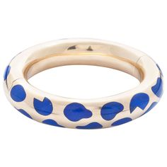 Tiffany & Co. Lapis Lazuli Inlaid Yellow Gold Bangle Bracelet | From a unique collection of vintage more bracelets at http://www.1stdibs.com/jewelry/bracelets/more-bracelets/