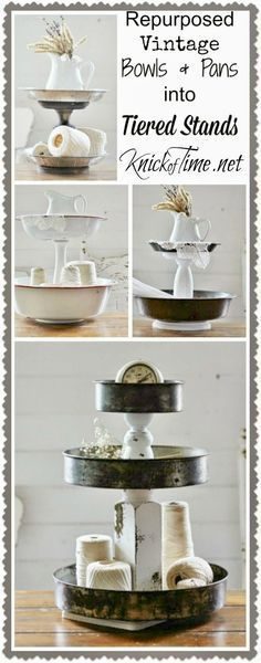 Repurposed Bowls & Tins Tiered Stands - KnickofTime.net