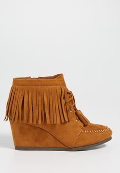 Danielle faux suede wedge with fringe in cognac (original price, $39.00) available at #Maurices