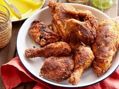 Pan Fried Chicken by Alton Brown : Food Network Alton Brown Fried Chicken, Pan Fried Chicken, Fried Chicken Recipes, How To Cook Chicken, Moist Chicken, Grilled Recipes, Glazed Chicken, Chicken Meals, Lime Chicken