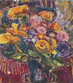 Bouquet de fleurs Huile sur toile, Mela Muter. Polish (1876 - 1967)