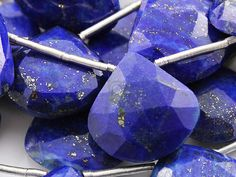 Natural Blue Lapis Lazuli, Medium Faceted Heart Drops, AAA Quality Gemstones Graduated Sizes 13 to 17mm , 1 Strand, (LAPGRADHRT)