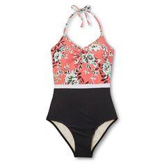 Women's Floral Color Block One Piece Swimsuit - Sea Angel