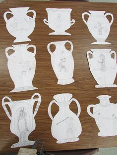 Original templates created by my 5th grade students for their ancient Greek vase forms; lesson designed by art teacher: Susan Joe