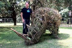 Gordon Froud, 'The Rhinoceros'. The Rhino, made out of the branches of a fallen tree, was constructed as a rubbish bin. This gesture is a comment on how we treat animals as consumer (throw away) products, in many cases resulting in extinction. Scientists have listed our human presence as an extinction-level event in earth's natural history. #‎JoziLandArt on 5&6 April 2014 #LandArt https://www.facebook.com/JoburgParks