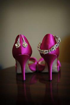 Fuschia shoes to die for! Photograph By Molly Anne Photography. Wedding Planning & Design by Elegant Aura, elegantaura.com.