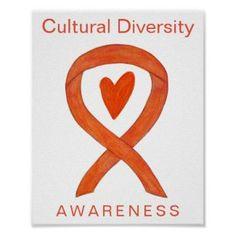 Cultural Diversity Awareness Ribbon Print Poster