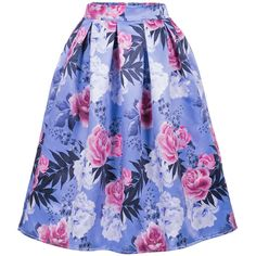 Floral Printed Elastic Waist Flared Midi Skirt (83 PEN) ❤ liked on Polyvore featuring skirts, blue midi skirt, floral midi skirt, mid-calf skirts, midi flare skirt and midi skirts