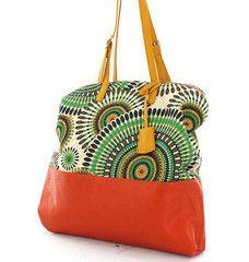Coral & Green Large Woven Fashion Handbag