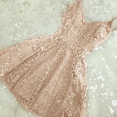 Glamorous A-Line Spaghetti Straps Champagne Short Homecoming Dress with Beading Party Dress#promdress#graduationdress#2018eveningdress#dress#dresses#gowns#partydress#longpromdress