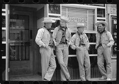 Arthur Rothstein photo of a quartet of dandy dudes in Billings, Montana, 1938.