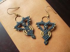 Gray Macrame earrings with brass
