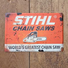 We are pleased to announce we have new STIHL Outfitters™apparel and merchandise in stock now! As the best-selling chain saw brand, STIHL has won many fans around the world. Chainsaw Mill, Stihl Chainsaw, Lathe Projects, Wood Turning Projects, Vintage Tools, Vintage Signs, Wood Cutter, Tree Surgeons, Wood Lathe