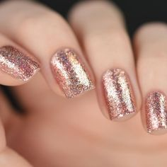 Rose gold glitter nail polish