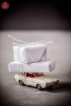 #Geschenkverpackungsidee für #Männer #Mann #Auto #Päckchen #gift #wrapping #idea #box #car
