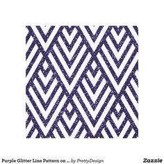 Purple Glitter Line Pattern on Canvas Print