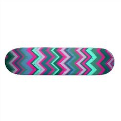 Pretty Aqua Teal Blue Pink Tribal Chevron Zig Zags Skateboard Decks | Skateboards for Girls