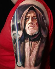 O B Wan Ken O B from Star Wars movie, tattoo art by Pony Lawson from Chicago Star Tattoos, Sleeve Tattoos, Cool Tattoos, Geek Tattoos, Awesome Tattoos, Tatoos, Star Wars Tattoo, V For Vendetta Tattoo, Private Tattoos