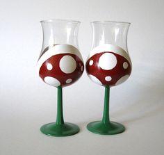 Piranha Plant Wine Glasses  Hand Painted Mario by BasementInvaders, $40.50