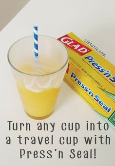 All you need to do is stretch a piece of Press'n Seal over the open part of the cup and voila! Your own DIY travel mug.