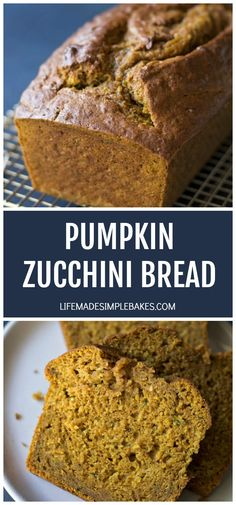 Moist, tender pumpkin zucchini bread filled with fall spices and baked to perfection. This quick bread is one you'll want to make over & over again! Pumpkin Zucchini Bread, Moist Pumpkin Bread, Pumpkin Butter, Pumpkin Spice Waffles, Best Homemade Bread Recipe, Flat Cakes, Quick Bread, Yummy Food, Delicious Recipes