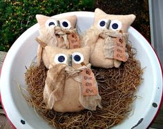 Love these stuffed primitive owl bowl fillers - adorable little guys