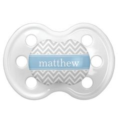 Gray and Sky Blue Chevron Monogram Pacifiers