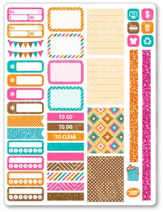 Native Functional Kit Planner Stickers for Erin Condren Planner, Filofax, Plum…