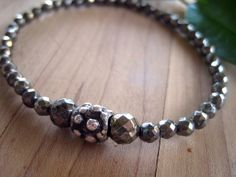 LUCK WEALTH Pyrite and Sterling Silver Stretch by jodybrimhall, $34.00