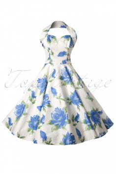 Vivien of Holloway - 50s Royal Blue Rose Swing Dress in White