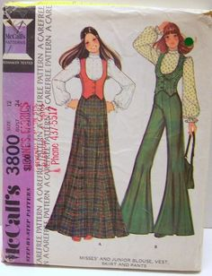 Vintage McCalls Sewing Pattern 3800 Boho Maxi Skirt Pants Fitted Low Vest and cute blouse Size 12 Bust 34 waist 26 Hip 36  by Sassy By Design, via Flickr