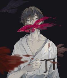 Red fish 🇯🇵 Aesthetic Drawing, Aesthetic Art, Aesthetic Anime, Hot Anime Boy, Cute Anime Guys, Anime Boys, Dark Anime, Anime Kunst, Anime Art