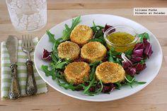 Receta de medallones provenzales de queso de rulo de cabra crujiente al horno. Con fotos del paso a paso, consejos y sugerencias de degustación. A...
