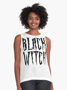 Black witch, black on white, magical, fantasy font contrast tanks •  Also Available as T-Shirts & Hoodies, Men's Apparels, Women's Apparels, Stickers, iPhone Cases, Samsung Galaxy Cases, Posters, Home Decors, Tote Bags, Pouches, Prints, Cards, Mini Skirts, Scarves, iPad Cases, Laptop Skins, Drawstring Bags, Laptop Sleeves, and Stationeries #style #fashion #clothing #clothes #girls