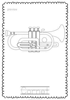 Brass Instruments Trace And Color Pages Music Education Music
