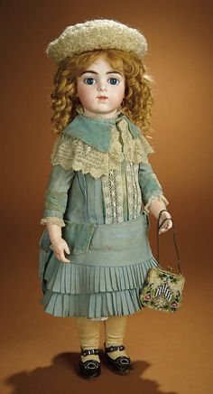 French Bisque Bebe by Leon Casimir Bru, Size 9, with Original Signed Body