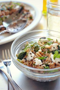 Bulgur Salad with Spinach, Pine Nuts, Asparagus, & Goat Cheese.  If you've never made bulgar wheat before, you should try it - it's easy to make like rice but so very good for you!