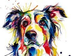 Colorido Husky siberiano arte Print impresión de mi pintura