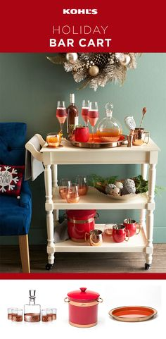 Sip, sip, hooray! Holiday party season is here. If you're hosting, take it easy on yourself and set up a self-serve bar cart. Put all the glasses, ice and beverages on a cart in the living room where guests can help themselves while you mingle. Bonus points for a stylish decanter set and copper-accented ice bucket, wine glasses, mugs and serving tray. Shop cocktail party hosting essentials at Kohl's.
