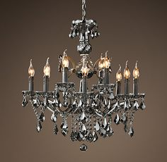 19Th C. Rococo Iron & Crystal Chandelier Medium Smoke - gorgeous, gorgeous, gorgeous!