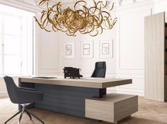 Office Table Rectangular office desk with drawers with shelves JERA