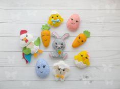 Felt Easter decoration Felt bunny chicken eggs rooster lamb