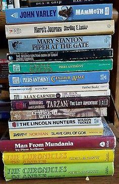 Fantasy and Sci-Fi Novels Mixed Lot of 26 Tarzan Gor Xanth Pellucidar Lovecraft