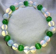 Natur Opal & Mexikanische Grüne Opal Heilstein Perlen Armband