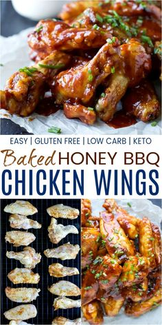 Crispy Baked Honey BBQ Chicken Wings Crispy Baked BBQ Chicken Wings - baked instead of fried these classic chicken wings are crispy, tender and smothered in a sweet 'n spicy Honey BBQ Sauce! The perfect game day appetizer recipe! Gluten Free Appetizers, Meat Appetizers, Appetizer Recipes, Lunch Recipes, Baked Bbq Chicken Wings, Chicken Wing Recipes, Chicken Dips, Sweet N Spicy, Spicy Honey