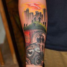 Session 1 28 Weeks Later Zombie Sleeve Tattoo by Joshua Doyon (IG: @InkedUpGing)