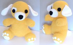 Heart Patch Puppy (Came out to be 8.5 in (21.6cm) tall) - Free Amigurumi Pattern here: https://alligatorcreator.wordpress.com/2015/02/13/heart-patch-puppy-pattern/